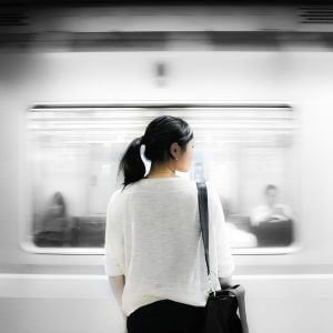 girl waiting for a train