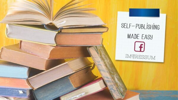 Self Publishing Made Easy - A pile of books and a facebook logo